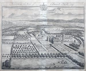 The image is a photograph of an engraving by Johannes Kip, showing the layout of the manor of Alveston. The manor, church, garden and park at what was probably the peak of their development. The south-west corner of Alveston Park is the darkened area above and to the right of the church. The walled areas to the east and south of the house are still marked out by walls which if not original are on the line of the original. The east wing has been demolished and the formal avenues no longer exist. A rough field with some fruit trees now lies to the south of the garden.