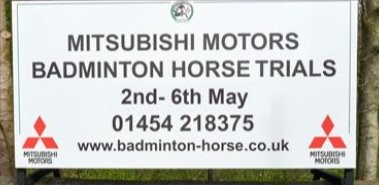 Badminton Horse Trials sign board