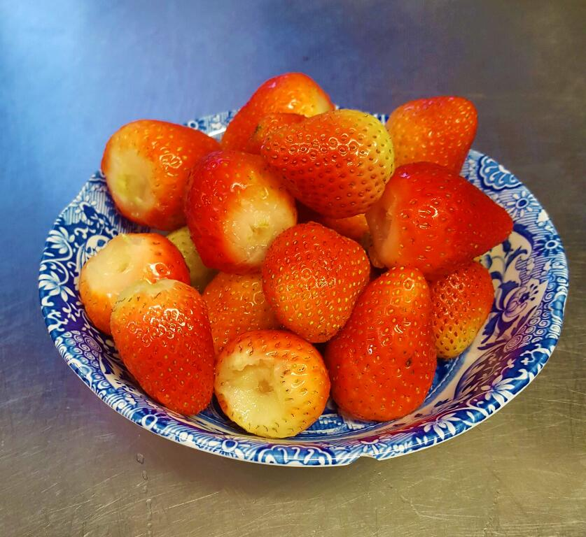 The first fresh strawberries from Old Church Farm