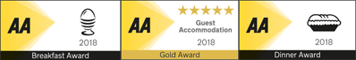 Old Church Farm has been awarded 5 gold stars by the AA as well as awards for breakfast and supper