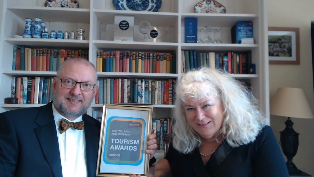 Chris and Kate Trim with their B&B Guesthouse of the Year Award from Bristol, Bath and Somerset Tourism Awards